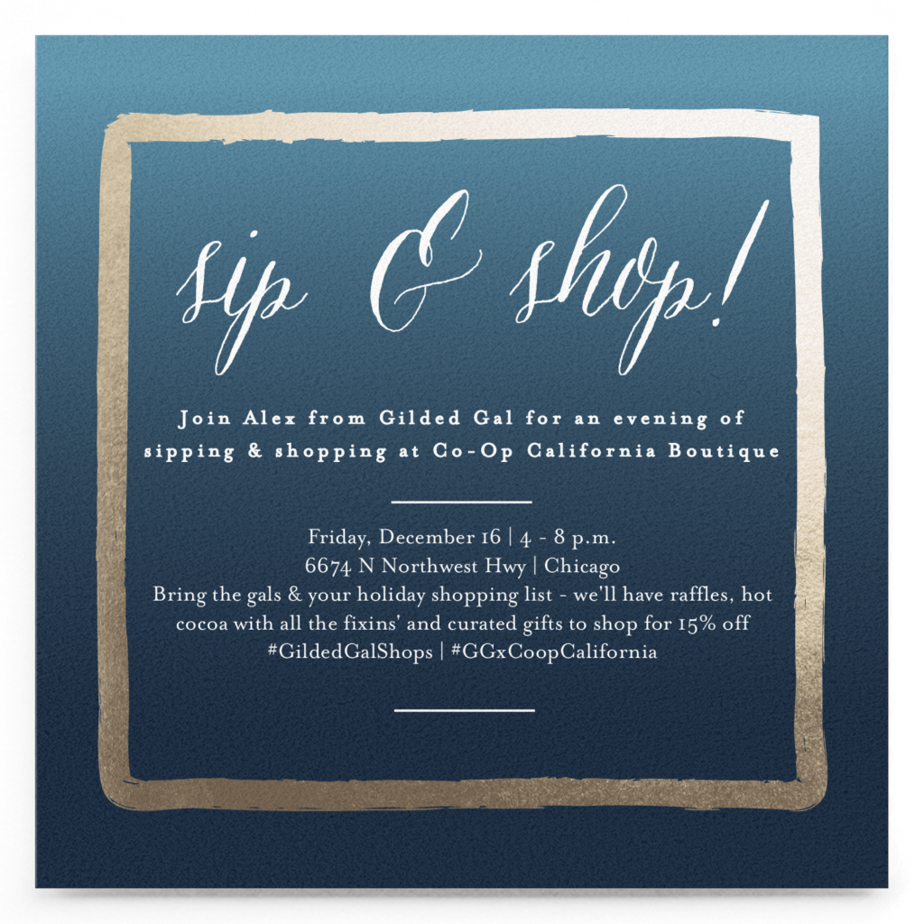 sip & shop with Gilded Gal & Co-op California Boutique | Holiday shopping in Chicago