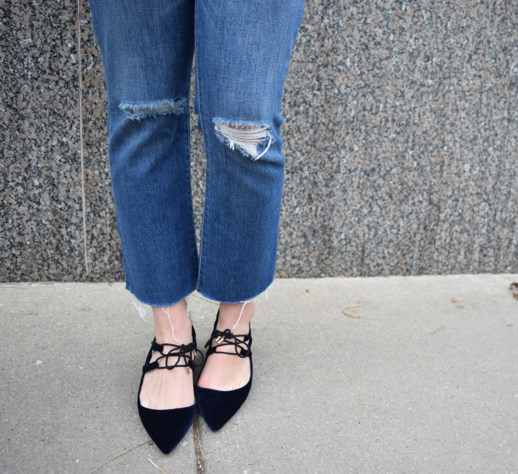Ladylike heels with distrssed jeans for a casual & classic look